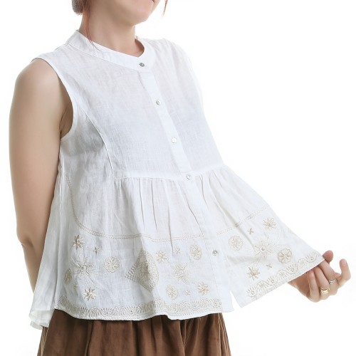 Blusa de Lino con Bordados Color Beige